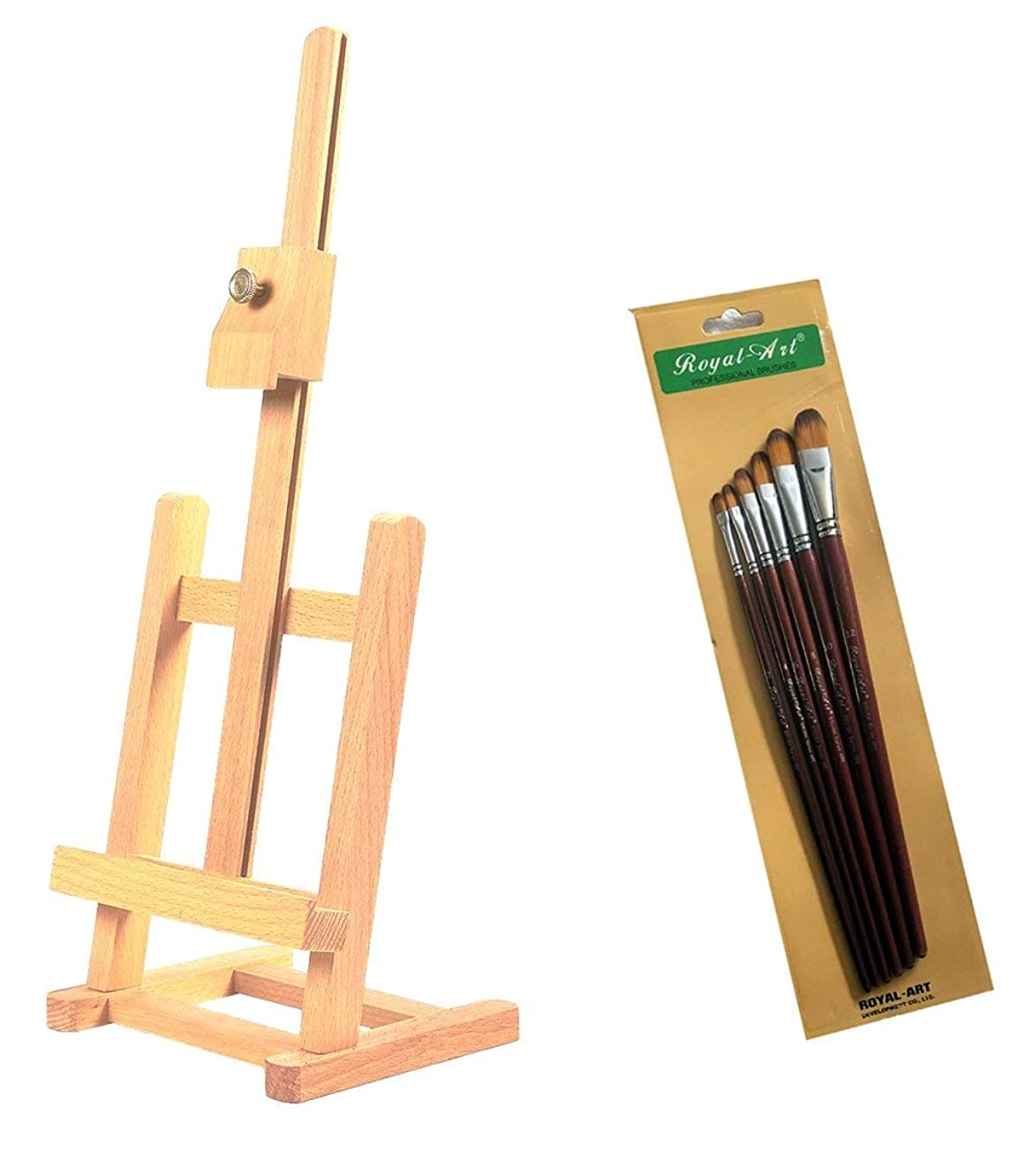 AmDiv Mini Wood Studio Adjustable Table Top Artist Easel - Holds up to 12 Inch Canvas or Frame (Easel + 6 PC Brush Set)