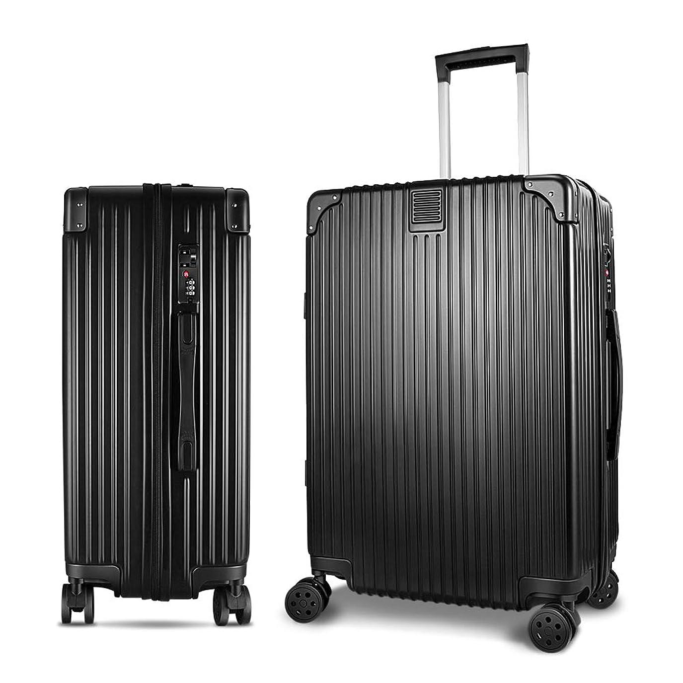 浸す分数まつげスーツケース キャリーケース 軽量 静音 大型 アルミフレーム ロック搭載 ファスナー式 レトロ 旅行 出張 男女兼用 ブラック
