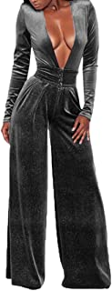 7263ee416c6 VamJump Women Velvet Long Sleeve Deep V Neck Knot Wide Leg Bodycon Club  Jumpsuits