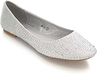 a8be8d7b3 ESSEX GLAM New Womens Bridal Diamante Wedding Ladies Sparkly Slip ON  Bridesmaid Shoes Pumps Size 3