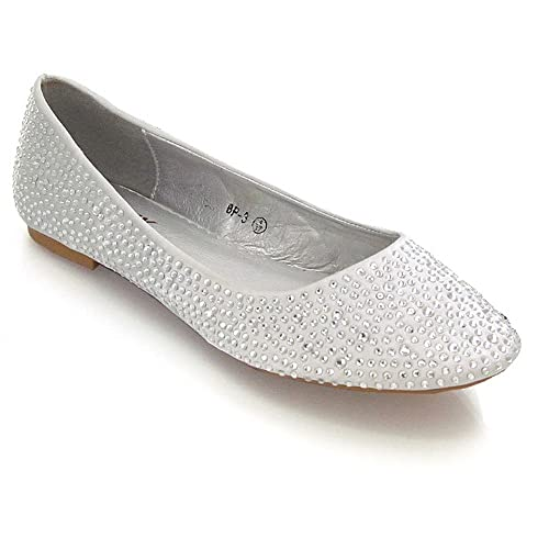 NEW WOMENS LADIES SILVER FLAT BALLERINA DOLLY BALLET PUMPS SHOES SIZE 4 5