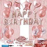 Herefun Decoraciones Cumpleaños de Oro Rosa, Fiesta de Niña Decoración de Cumpleaños, Feliz Cumpleaños Decoraciones Fiestas Set con Oro Rosa Manteles, Cortina (B)