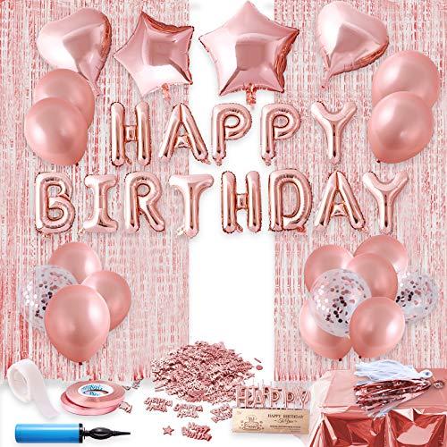 Herefun Decoraciones Cumpleaños de Oro Rosa, Fiesta de Niña Decoración de Cumpleaños, Feliz Cumpleaños Decoraciones Fiestas Set con Oro Rosa Manteles, Cortina (A)