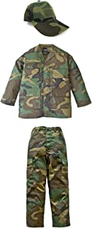 Kid's Military Fatigue Set in Woodland Camo