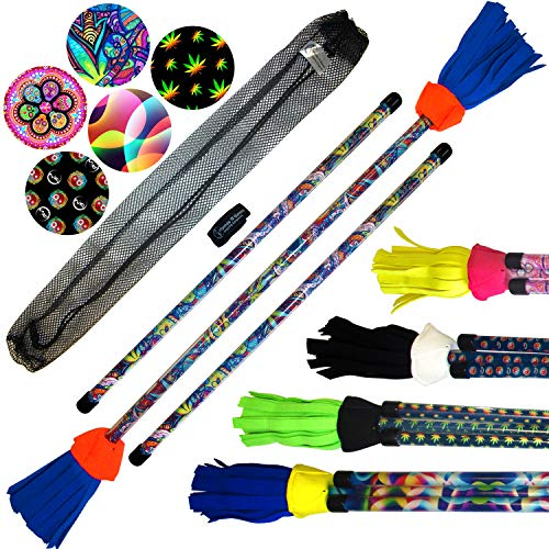 Flower Stick Set - Art-Deco (5 Designs) + Silicone Matching Wooden Hand Sticks! Pro Flower Sticks for Kids & Adults! (Spectrum)