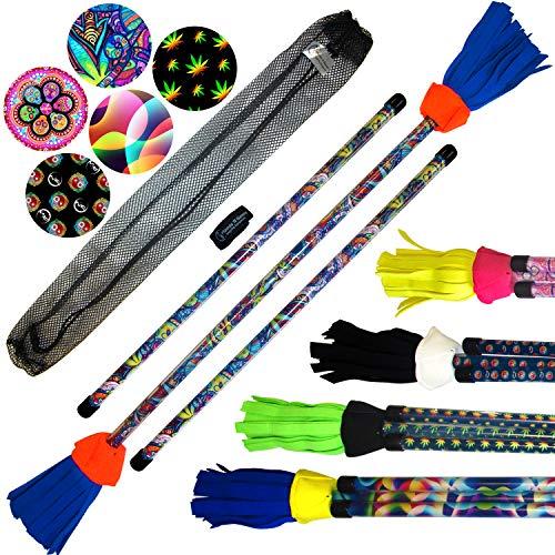 ART-Deco Flowerstick Set (5 Einzigartig Designs) inkl. Handstäbe mit 2 mm Ultra-Grip Silikon! Super...