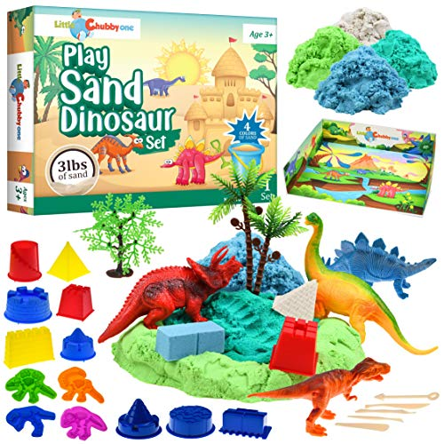 LITTLE CHUBBY ONE Kids Play Sand Dinosaur Set - 3 Lbs Sand - Toy Magic Sand Set - Mess Free Play for Girls and Boys - Ideas for Children Activities Age 2 3 4 5 6 7 8 9 10
