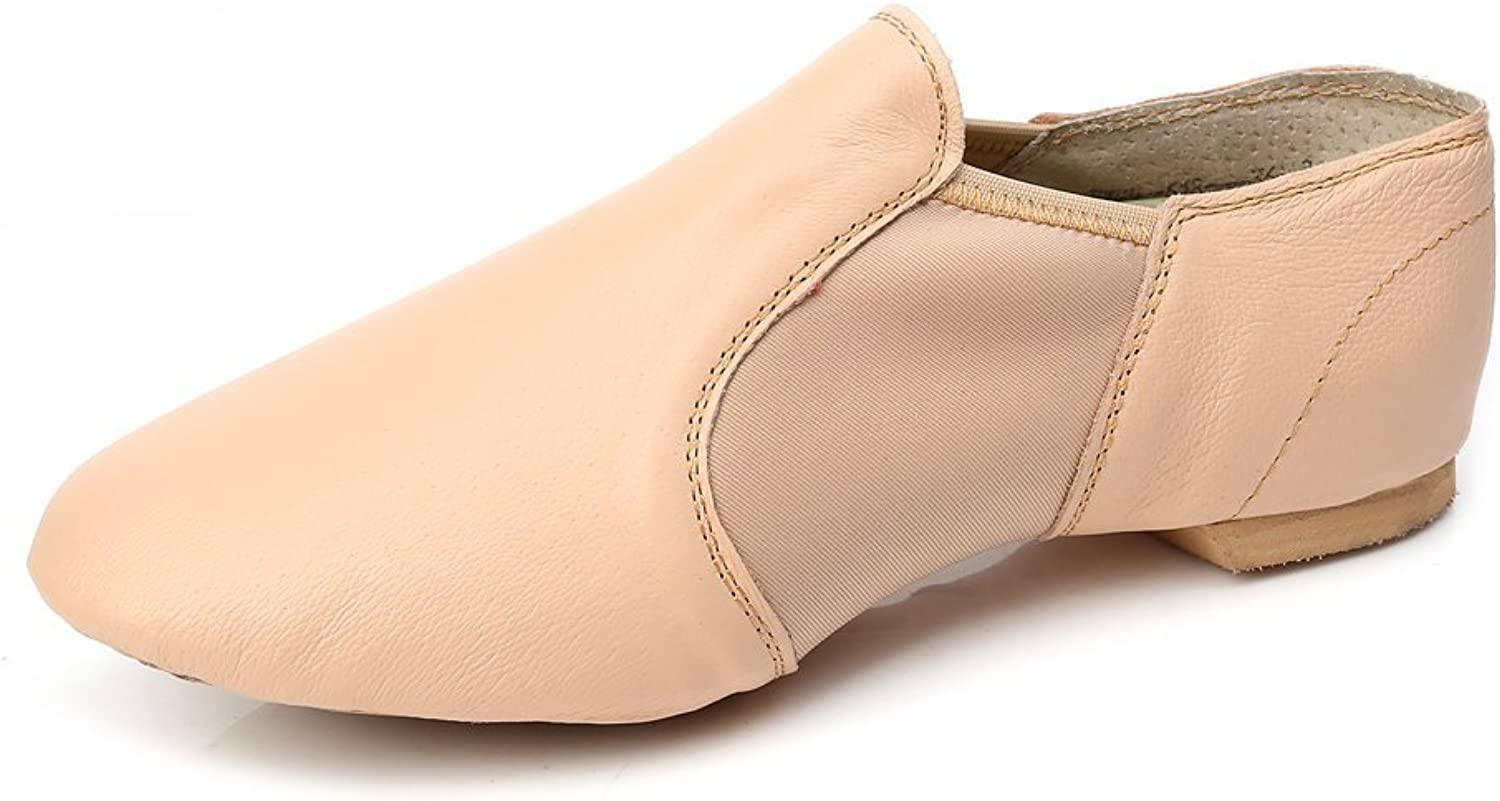 Jieruiya Leather Jazz Dance shoes Slip-On for Women Big Kid