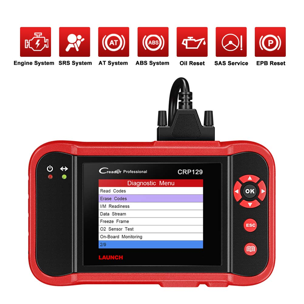 LAUNCH Code Reader CRP129 OBD2 Scanner Scan Tool ENG//at//ABS//SRS EPB SAS Oil Service Light Resets Car Diagnostic Tool for Mechanic and Experienced Enthusiast