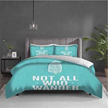Dolores Edmund Adventure Pure Bedding Hotel Luxury Bed Linen Not All Who Wander are Lost Words of Wisdom Boho Chic Feather Grunge Look Polyester - Soft and Breathable (King) Turquoise White