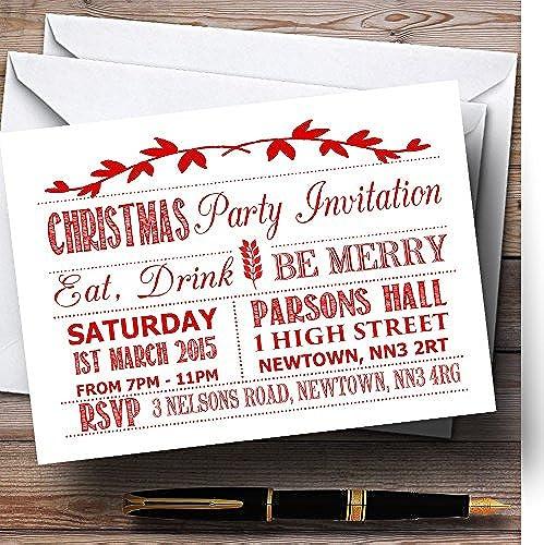 apresurado a ver Invitaciones de fiesta de Navidad personalizadas de de de Color blanco envejecido y rojo  mejor servicio