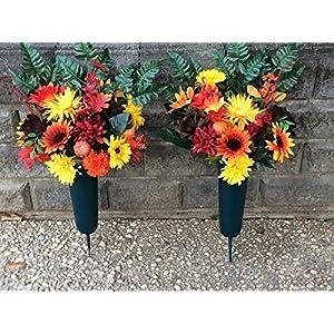 Cemetery Flower Cones, Memorial Silk Flowers
