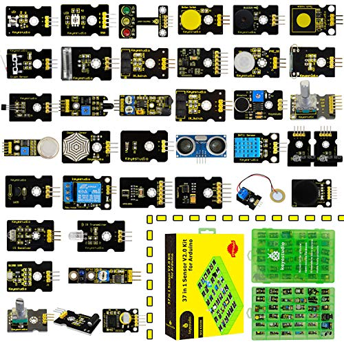KEYESTUDIO 37 in 1 Sensor Kit for Arduino U&O, MEGA, NANO, Raspberry Pi, with Traffic Light Module, Capacitive Touch Module, Ball Tilt Switch Sensor, Temperature Humidity, Ceramic Vibration