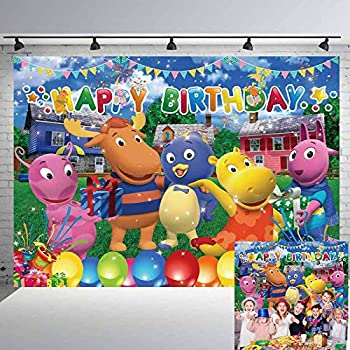 The Backyardigans Happy Birthday Banner Backdrop Banner Tv Theme Party Supplies Dessert Table Decoration Photography Studio Background Props 5x7 Ft