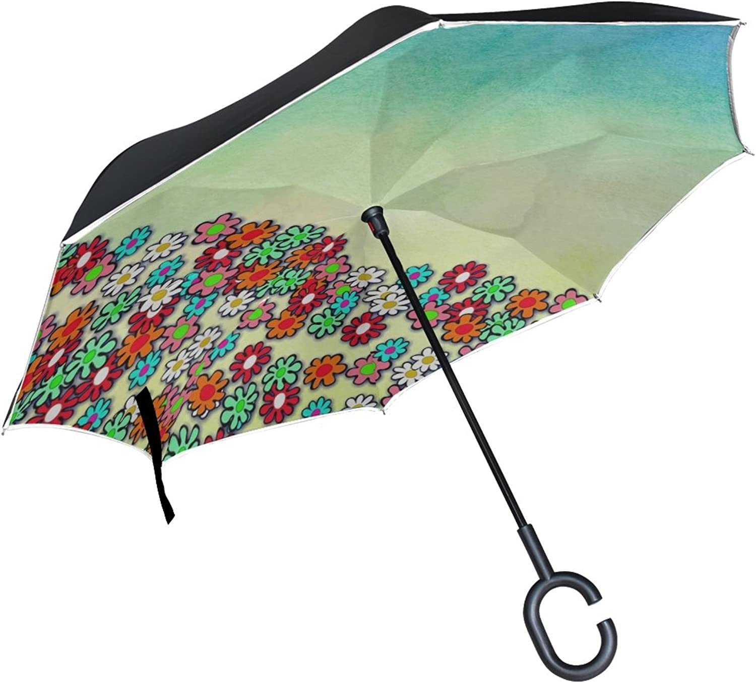 Double Layer Ingreened Watercolour Watercolor Blend Paper Umbrellas Reverse Folding Umbrella Windproof Uv Predection Big Straight Umbrella for Car Rain Outdoor with CShaped Handle