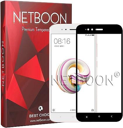 NETBOON Tempered Glass Edge to Edge Coverage Screen Protector for Xiaomi Mi A1 Screen Guard Gorilla Glass - Black