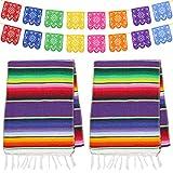 Dreamtop 2 caminos de mesa mexicanos de 35,56 x 213,44 cm, manta de algodón con flecos de colores con 8 colores, 16 pancartas picado para fiestas mexicanas, bodas, cocina al aire libre