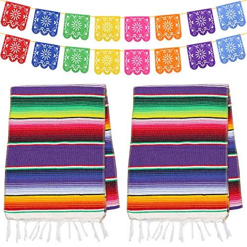 Dreamtop 2 Stück Mexikanischer Tischläufer Mexikanische Serape-Decke, aus Baumwolle, Bunte Fransen, Tischläufer mit 16 Picado-Bannern für Mexikanische Party Hochzeit Küche Outdoor