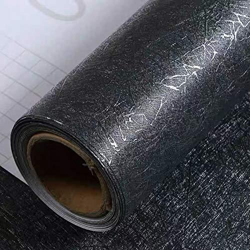 Yancorp 15.7'x120' inch Black Wallpaper Silk Peel and Stick Wallpaper Textured...