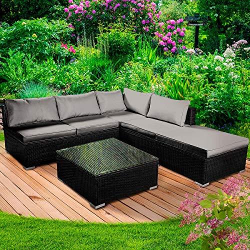BRAST Poly-Rattan Gartenmöbel Lounge Set 15 Modelle 3 Farben 4-12 Personen Aluminium Sitzgruppe OASE Schwarz
