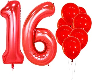 IN-JOOYAA 40 in Big Number 16 Mylar Balloons Red Sweet Sixteen Jumbo Foil Number Balloon for Sweet 16 Birthday Party Anniversary Celebrate Party Decoration …