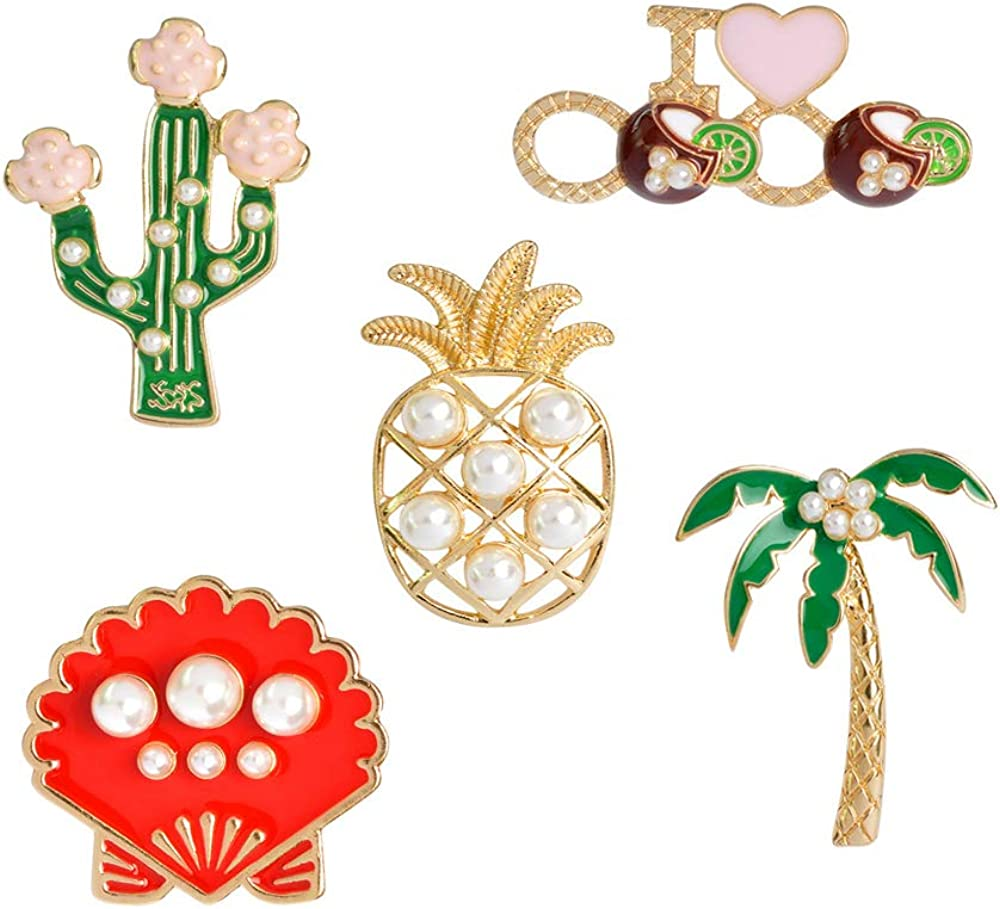 SEVENSTONE Enamel Lapel Pins Sets Cute Cartoon Animal Plant Pearl Pineapple Badges Brooches for Clothing Bags Backpacks Jackets Hat Jewelry DIY Accessories