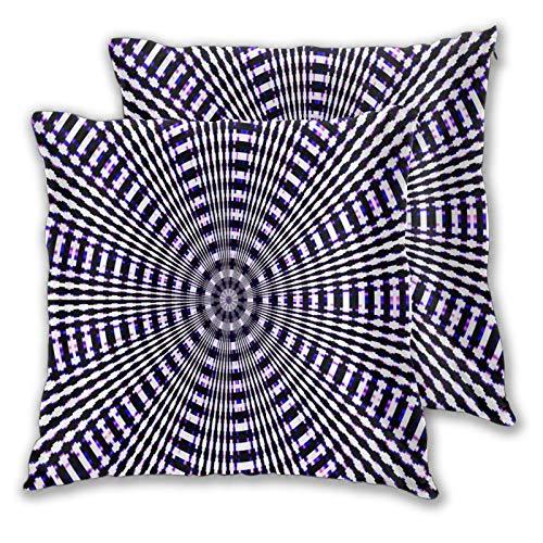 ALLMILL Juego de 2 Decorativo Funda de Cojín,Fondo de Rayas de patrón de círculos radiales Coloridos,Funda de Almohada Cuadrado para Sofá Cama