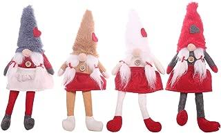 CCXZXF Swedish Santa Gnome with Love Hat Plush, Handmade Scandinavian Tomte Nordic Nisse Sockerbit Elf Dwarf Home Household Ornaments, Christmas Santa Decoration 4 Pack