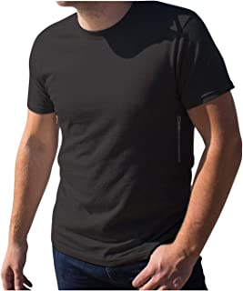 222bf1fa8a45 Pickpocket Proof Crew Necked Men's T-Shirt with 2 Hidden Zipper Pockets,  100%
