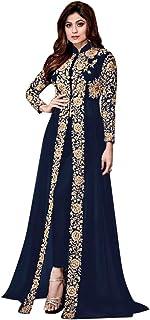 Navy Blue Ready to Wear Indian Bollywood Shamita Georgette Anarkali Pant Suit Women Designer Ethnic Party wear Salwar Kame...