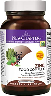 New Chapter Zinc Supplement - Zinc Food Complex for Skin Health + Immune Support + Non-GMO Ingredients - 60 ct Vegetarian Capsules