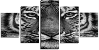 MADEYU 3D Frameless Five Black and White Tiger Full face Computer Ink Painting Oil Painting core Canvas Painting Wall Art Wallpaper Household Goods Decorative Painting, 20x35cmx2 20x45cmx2 20x55cm