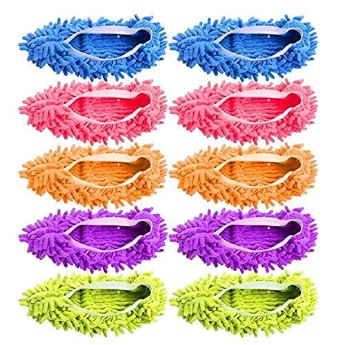 Hapahabie Wischbezug fünf Paare weißen Seite Ersatz Mopptuch Mopp faul Schuh (pink/grün / blau/orange / lila) 17 * 15cm