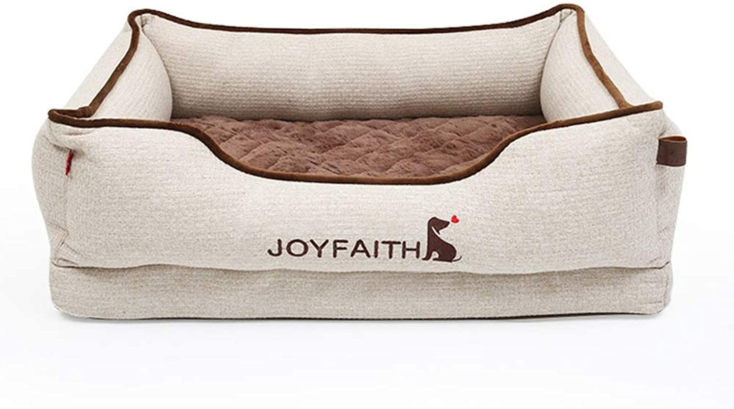 HOIHO Pet Sofa, Pet Nest Removable And Washable Four Seasons Universal Pet Bed Large Dog Sleep Pad (beige Brown) (color   Beige, Size   M)