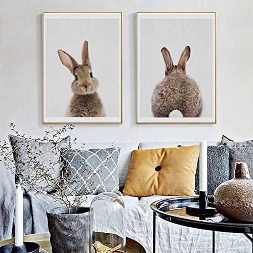 bdrsjdsb Niedlichen Tier Kaninchen Leinwand Poster Kein Rahmen Malerei Kunst Büroraum Cafe Wandbild 2# 20 * 25 cm