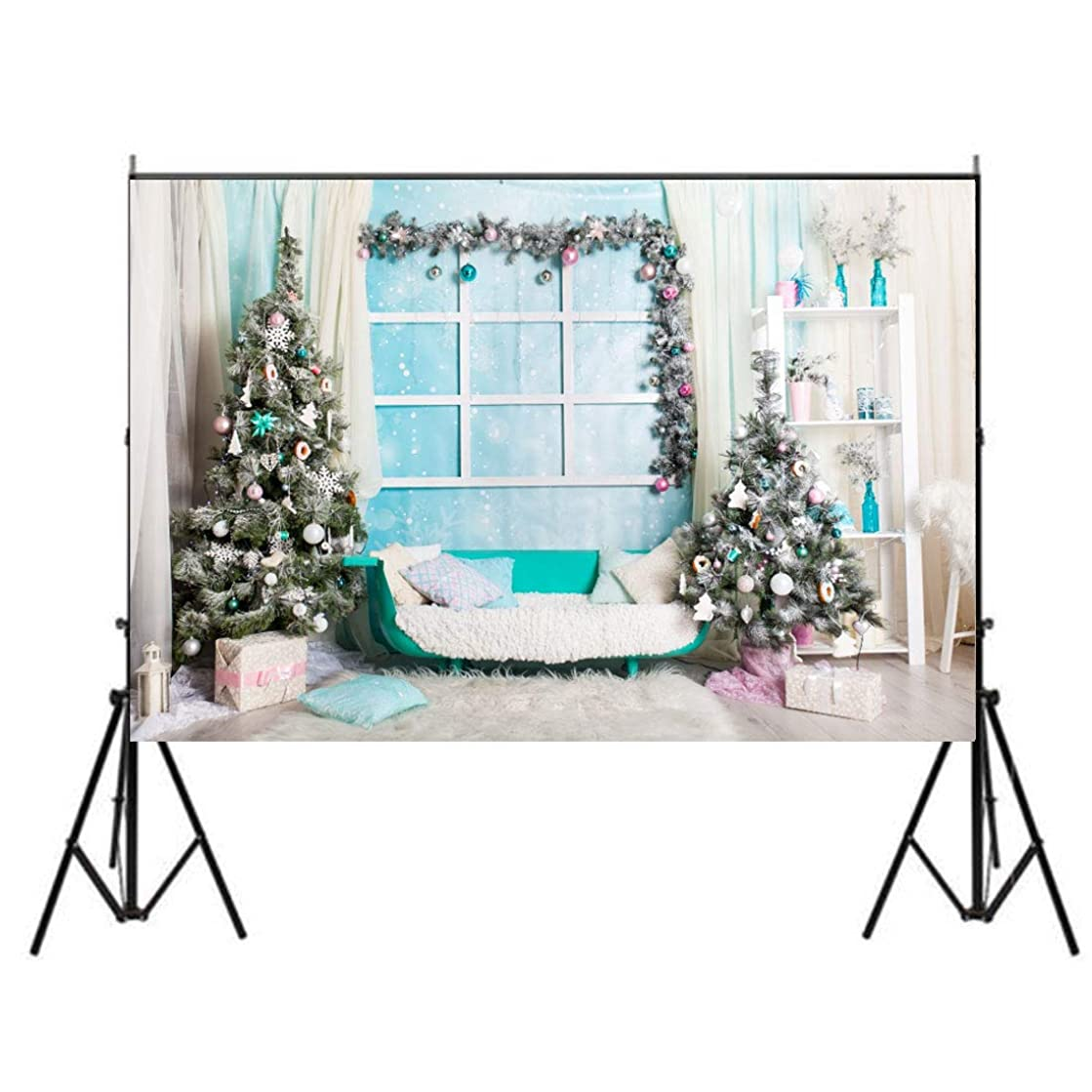 7x5ft Christmas Balls Tree Backdrop Xmas Gift Chic Sofa Chair Pillow Window Curtain Carpet Photography Background Kid Baby Girl Artistic Portrait New Year Indoor Decor Photo Shoot Studio Props
