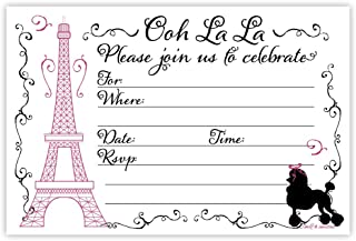 Paris Party Invitations (20 Count) With Envelopes