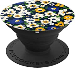 Floral Garden With Cute White Blue Yellow Flowers - PopSockets Grip and Stand for Phones and Tablets