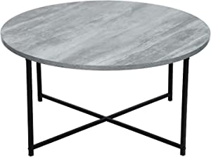 Adeco FT0211-1 Round, Wood Top and Sturdy Metal Frame X-Base for Living Room, 16 Inch Height Coffee Tables, Fossil Gray
