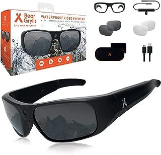 Bear Grylls Waterproof Action Camera Glasses (BG-GLS-1) with Full HD 1080P Built-in POV Camera IP66 Waterproof 90° Sports Camera Impact Resistant U400 Polarised Lenses with Full Accessory Kit.