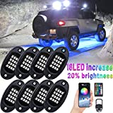 【Brightness Upgraded】YISSDA RGB LED Rock Lights 128LEDs, Multicolor Neon Underglow Lighting Kit with APP/RF Control Music Mode for Jeep Truck UTV SUV, Waterproof, with Long Extension Cord, 8 Pods