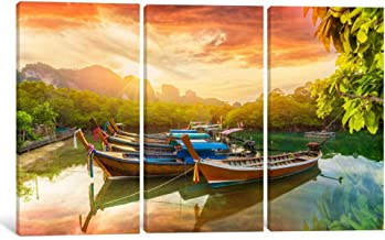 Exotic Boats in River Wall Art Canvas Print by CanvasBy 76x153x3.5cm - 3 Pieces