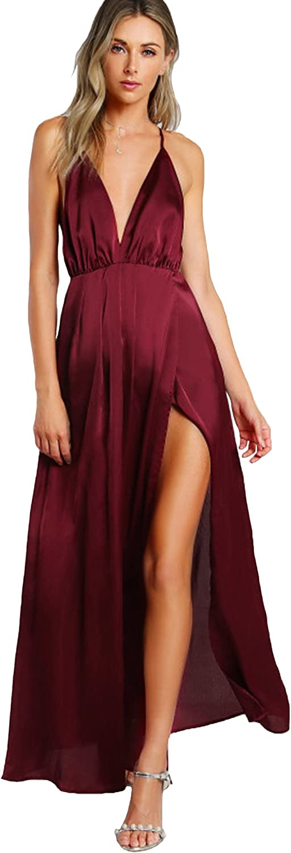 SheIn Women's Sexy Satin Deep V Neck Backless Maxi Club Party Evening Dress