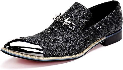 zapatos zapatos para hombres Punta de Metal con Punta de Cuero Cantante de Roca Bar Casual Vestido zapatos de Boda Punta de Metal para Formal, Boda, Informal, Oficina, Fiesta, Tamaño 37 a 46