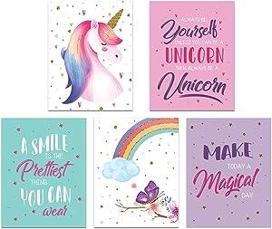 Unicorn Bedroom Decor For Girls, Unicorn Posters For Girls Room, Unicorn Decor For Girls Room, Unicorn Pictures Wall Decor, Unicorn Wall Art, Set Of 5 Girls Room Decor Prints 8x10