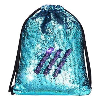 Mermaid Sequin Drawstring Bags, Reversible Flip Sequins Backpacks
