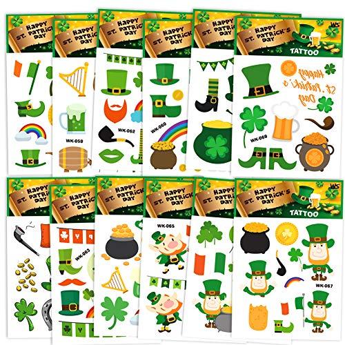 St.Patricks Day Party Supplies,Konsait 120pcs St. Patrick's Day Tattoos Shamrock Leprechaun Temporary Tattoo Pot of Gold Sticker for St Patricks Party Favor Supplies Decor for Man Women Kids
