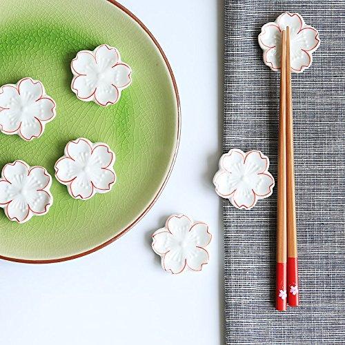 Astra Gourmet 5pcs Japanese Style Ceramic Sakura Flower Chopstick Rest Spoon Fork Knife Holder