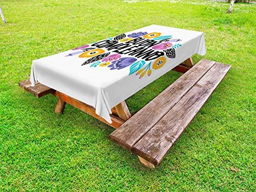 ABAKUHAUS Italië Tafelkleed voor Buitengebruik, Gelukkige Verjaardag in het Italiaans, Decoratief Wasbaar Tafelkleed voor Picknicktafel, 58 x 104 cm, Wit en Multicolor