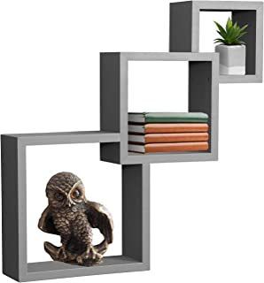 Sorbus Floating Shelf Square Interlocking Cubes with 3 Openings — Decorative Wall Shelves Hanging Display for Photo Frames, Collectibles, and Home Décor (Interlocking 3-Tier Cube – Grey)